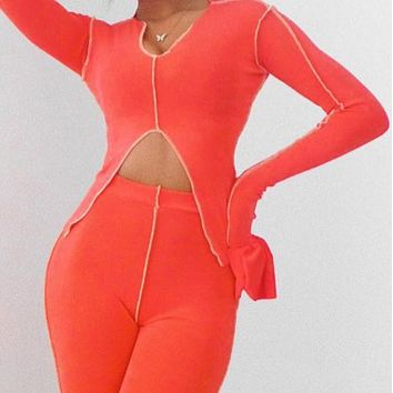 Explosive style contrast color irregular line long sleeve trouser suit women