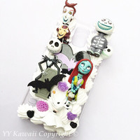 Custom kawaii Nightmare before Christmas jack Skellington Decoden Phonecase for Iphone 4/4s 5 6, Galaxy s3 S4 s5 and more