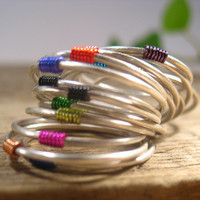 Stacking Ring Silver with Colors 18