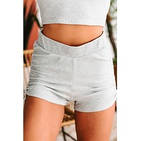 Partner In Crime Ribbed Side Ruched Shorts (Heather Grey)