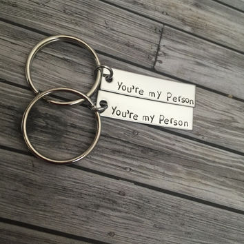 Set of you're my person keychains, great couples gift or best friends gift , Anniversary Gift