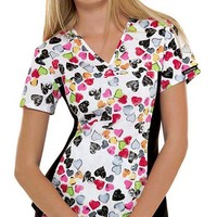 Buy Flexibles Women You Gotta Have Heart V-Neck Print Scrub Top for $21.45