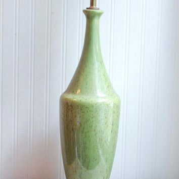 Retro Green Speckled Table Lamp - Mid Century Home Decor
