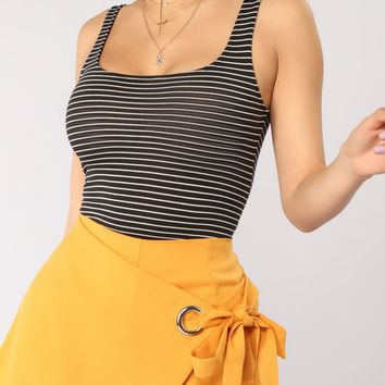 Ora Striped Tank Top - Black/White
