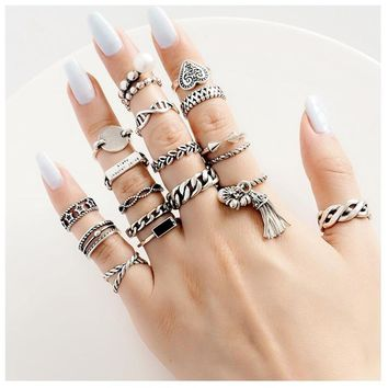 Punk Rings Real 925 Silver Anillos Jewelry Vintage Charm Boho Minimalism Best Friend Gift Haut Femme Bague Femme Rings for Women