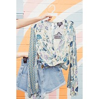 Solei Printed Crop, Pale Blue