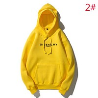 Givenchy Autumn And Winter Fashion New Bust Letter Print Women Men Hooded Long Sleeve Top Sweater Yellow