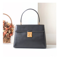 Ferragamo Gancini stitched leather tote handbag black authentic vintage