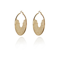 River Island Womens Gold tone laser cut aztec hoop earrings