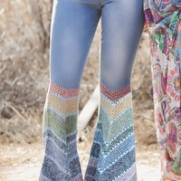 JUDITH MARCH Light Denim Flare Pants with Multi Chevron Crochet