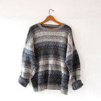Vintage cotton & wool sweater. Gray and oatmeal pullover. oversized slouchy fit.