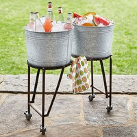 Galvanized Metal Double Beverage Tub With Stand