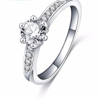 Wedding Ring Classic Design Silver Plated  Simulated Diamond Promise