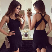 Summer Sexy Criss Cross Back Nightclub Clubbing Party Erotic One Piece Dress _ 12743