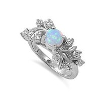 Sterling Silver Created White Opal Ring (Size 5 - 10)