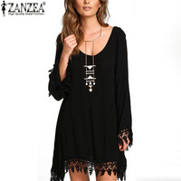 ZANZEA 2016 Summer Sexy Women Lace Tassels Beach Dress Casual Loose Solid Short Mini Dress Bikini Cover Up Vestidos Plus Size
