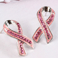 Pink Ribbon Glam Earrings