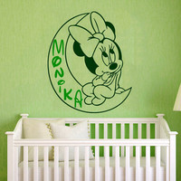 Name Wall Decal Minnie Mouse Girl Personalized Name Sticker Vinyl Decal Art Mural Home Bedroom Decor Interior Design Nursery Decor KY147