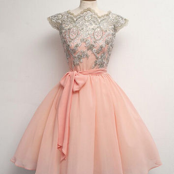 Vintage Lace Embroidery Short A-line Chiffon Homecoming Dress