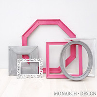 Hot Pink Grey White Frame Set Shabby Chic Wall Gallery - Upcycled Set Of 6