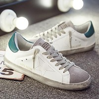 2018 Brand Italy Golden Genuine Leather Casual Women Trainers Goose Star Breathe Slipony Shoes Footwear Zapatillas Krasovki