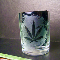 Weed Leaf Shot Glass Pot Leaf Shooter Cannabis Marijuana Bong Acid Etched Glass Ganja Hemp Hippy MMJ California Custom Etching Available