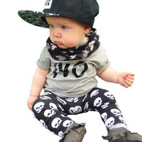 2016 new style summer baby boy clothes cotton baby clothing fashion short-sleeved t-shirt+pants newborn  clothing set