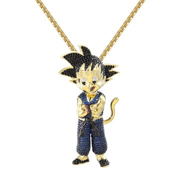 """Designer New Iced Out Character Blue Goku Pendant 14k Gold Finish Free 24""""  BoxChain"""