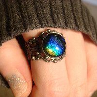 Antique Silver Ox Dichroic Glass Galaxy Ring  - Adjustable (1030)