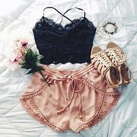 Lace Sling Vest Sexy and shorts Two-piece Set