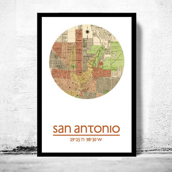 SAN ANTONIO - city poster - city map poster print