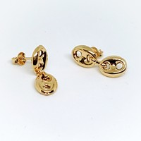 1-1180-g5 Gold Overlay Double Puff Marine Link Post Earrings.
