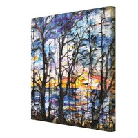 Grunge Seascape Georgia Sunrise and Trees Canvas Print