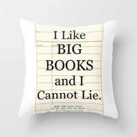 Library Card / Book Lovers Gift / I Like Big Books and I cannot Lie Throw Pillow by Cabinet Of Pretty Things