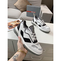 Prada Men's And Women's Leather Fashion Low Top Sneakers Shoes