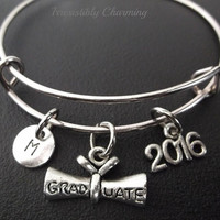 Class of 2016..... bracelet, Stainless Steel Expandable Bangle, monogram personalized item No.241
