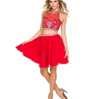 Preorder -  Red Embellished Short Two Piece Dress 2015 Homecoming Dresses