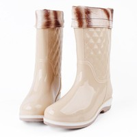High Rain Boots Autumn And Winter Boots women Korean Fashion Boots Flat With Adult Wa