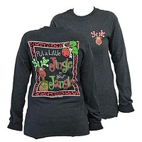 Southern Couture Reindeer Put a Little Jingle in your Jangle Christmas Xmas Girlie Longsleeve Bright T Shirt