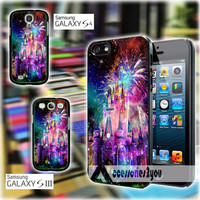 Disney Castle Fireworks Design On Nebula for iPhone 4, iPhone 4s, iPhone 5, iPhone 5s, iPhone 5c, Samsung Galaxy S3, Sasmsung Galaxy S4 Case