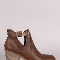 Soda Buckled Side Cutout Chunky Heeled Ankle Boots