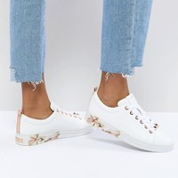 Ted Baker Kelleip Leather Floral Placement Sneaker at asos.com