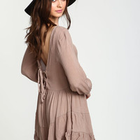 COFFEE LACE UP TIERED DRESS