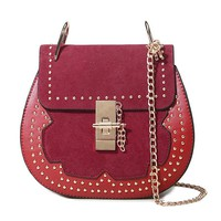 Casual Patchwork Rivets Chain Round Crossbody Bag