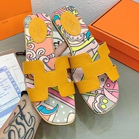 Hermes Fashion Women Casual Leather Beach Slippers Sandals Shoes Orange