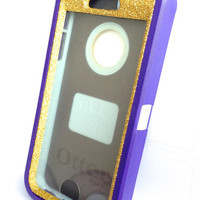 OtterBox Defender Series Case iPhone 5s Glitter Cute Sparkly Bling Defender Series Custom Case Purple / Gold