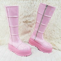 Slacker 230 Pink Patent Knee High Boots US Sizes Goth Punk NY IN STOCK