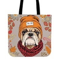 Cool Bulldog Linen Tote Bag