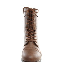 Brown Babe On Duty Lace Up Combat Boots | $10.99 | Cheap Trendy Boots Chic Discount Fashion for Wome