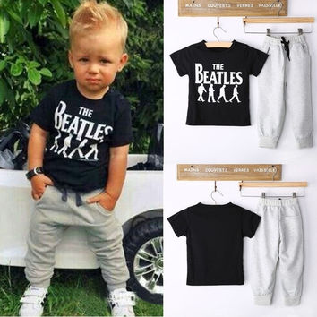 2PCS Causal Kids Baby Boy Clothes T-Shirt + Trousers Sports Pants Outfit 2-6Y = 1930325764